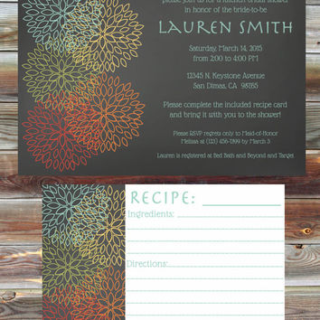Custom Floral Theme Kitchen Bridal Shower Invitation with Matching Recipe Card - Floral Kitchen Bridal Shower - Stock the Kitchen Invite