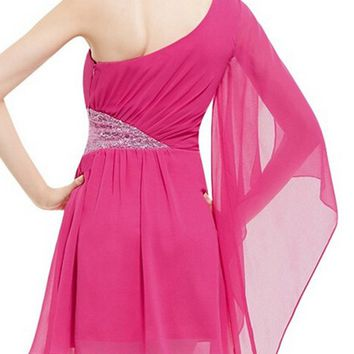Casual One Shoulder Cape Sleeve Sequin Plain Chiffon Skater Dress