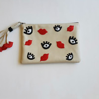 Weirdo Eyes  Leather Clutch.  Leather Pouch, Small Leather Bag. Leather Makeup Bag. Leather Cosmetic Bag. FREE SHİPPİNG