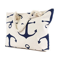 Anchors Aweigh - Large Canvas Beach Tote Bag - White with Navy Blue Anchors - 19-in