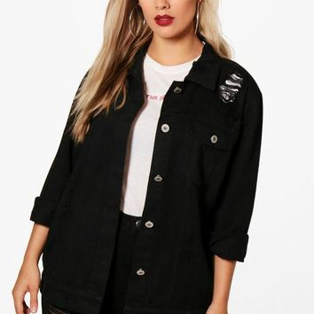 Plus Jemima Distressed Twill Jacket | Boohoo