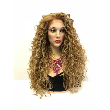 Blond Balayage Swiss Front Lace Wig | Long Volume Curly Waves Soft Layered Hair | Catcha