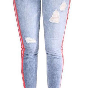 Women`s Distressed Curvy blue Mid High Waist Stretch Denim Pants Ripped Skinny Jeans L-3XL