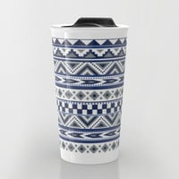 Tribal Art Pattern Navy Blue Silver White Travel Mug by Tjc555 | Society6