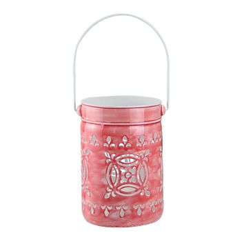"7.5"" L'Eau de Fleur Rose Pink Cut-Out Votive Candle Lantern"