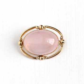 Vintage 12k Rosy Yellow Gold Filled Rose Quartz Brooch Pin - Retro 1940s Oval Cabochon Cut Light Pink Gem LSP Co L.S. Peterson Co Jewelry