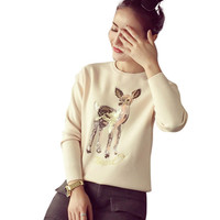 Deer Pattern Sweater with Sequinned