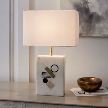 Graphic Brass Inlay Table Lamp - Rectangle