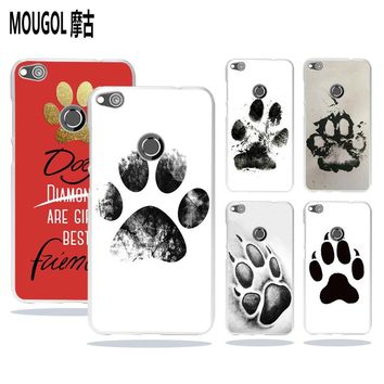 MOUGOL Dogs are girls best friends Dog paw Style transparent hard Phone case cover for Huawei Mate 10 8 P8 P9 P10 Lite 2017
