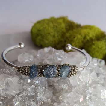 Aquamarine Crystal Cuff Bracelet | Gemstone Bangle | Crystal Jewelry | Silver Pyrite Bracelet | Birthstone Jewelry | Bridal Party Jewelry