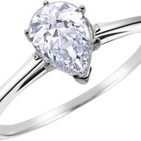 Sterling Silver 1 Carat Pear Cut Engagement Promise Ring for Women