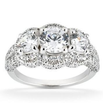Real 2.25ct Vintage Diamond Engagement Ring Pave Antique White Gold Round Womens