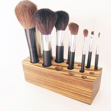 Zebrawood Makeup Brush Storage Organizer