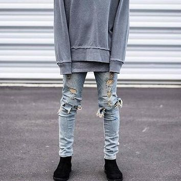 Hip Hop Hi-Street For Men Kanye West Ripped Biker Jeans Motorcycle Skinny Slim Fit Black Denim Pants Destroyed Swag Joggers