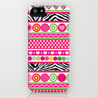 Colorful Zebra hearts dots and flowers iPhone & iPod Case by Silvianna