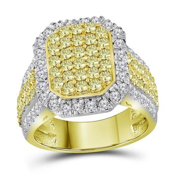 14kt Yellow Gold Womens Round Canary Yellow Diamond Rectangle Cluster Ring 2-1/3 Cttw