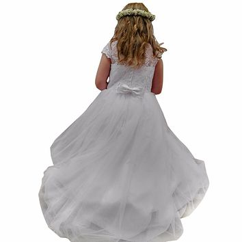 Lovely Short Sleeves White Ivory Lace Little Angel  First Communion Dresses For Girls 2016 Ball Gown Kids Flower Girl Dresses