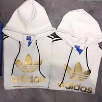 "Women Couple ""Adidas"" Print Hoodie Sweatshirt Tops Sweater Pullover White"