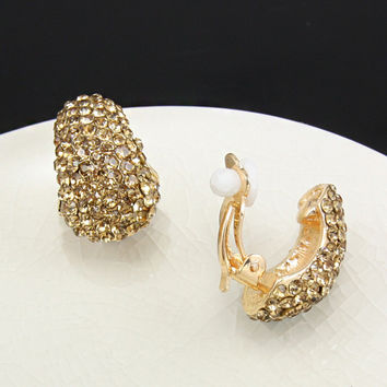 Gold Plated Rhinestones Clip Earrings without Piercing Crystal No Pierced Ear Clip Fashion Jewelry Accessories brincos  ersh11