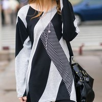 Stylish Women's Jewel Neck Long Sleeve Geometric Loose-Fitting T-Shirt
