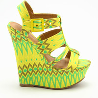 YELLOW TRIBAL PATTERN WEDGES