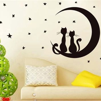 Star Moon Cats Wall Stickers Kids Rooms Living Room Bedroom Adesivo De Parede DIY Removable Decoration Home Decor #84091