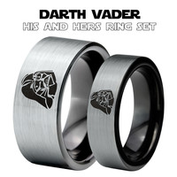Darth Vader Inspired Silver Black His and Her Tungsten Ring Set
