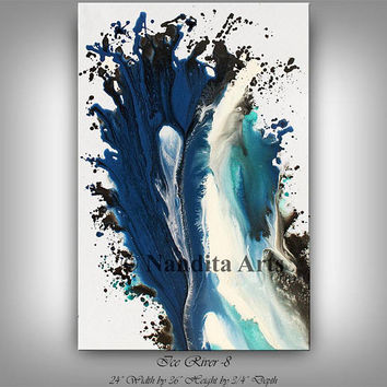 Coastal, Ocean Waves, Wall Art Blue Painting large Beach Coastal Modern Fine Art Gray Home Decor Painting -Nandita Albright