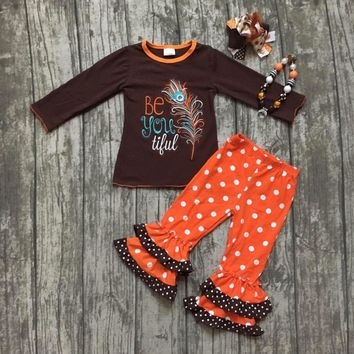 """Girls 4PC Thanksgiving Outfit """"Be You Tiful"""" Brown and Orange Ruffles"""