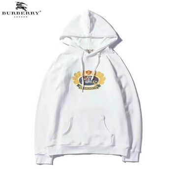 Burberry autumn and winter new trend embroidery icon casual hooded sweater white