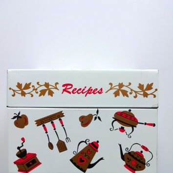 Vintage Ohio Art Metal Recipe Card Box 1960s