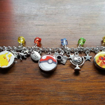 Pokemon go inspired snap button charm bracelet