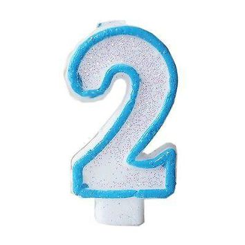 Blue Glitter Numeral 2 Number Candle White Premium 2nd Birthday Cake Candle