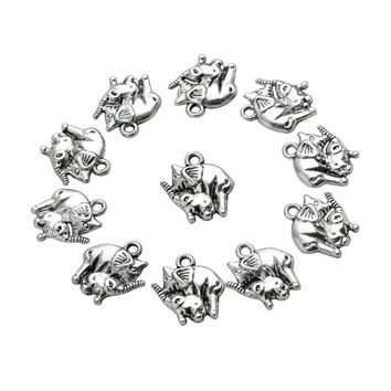 20 Pieces Mom and Baby Elephant Charms Findings for Jewelry Pendants Necklace Making 14mm X 15mm