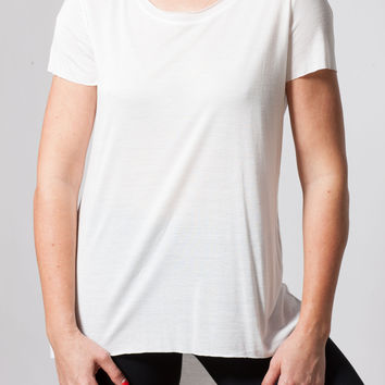White Raw Edge Basic Tee