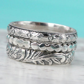 Ring set of 3 stackable rings in sterling silver with floral pattern design, handmade bands, stackable thick wedding promise romantic