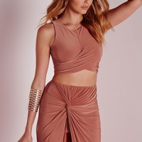 Missguided - Wrap Over Slinky Crop Top Rust