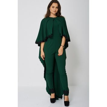 Forest Green Jumpsuit and Cape Set with Lace Trim