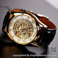 Gold Mens Watch Steampunk Watch For Anniversary Gift (ET0089-WHITE)