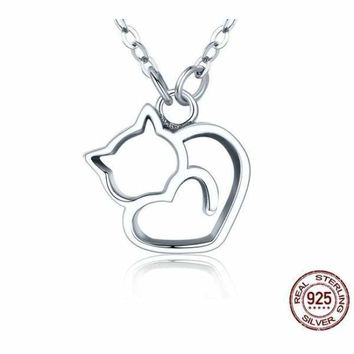 Authentic 925 Sterling Silver Lovely Cat Pendant Necklace