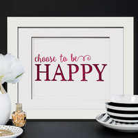 Choose To Be Happy -Real Glitter Print W/OPTIONAL Frame, Glitter Office Decor Something Glitzy For Cubicle Decor, Cute Coworker Gift For Her