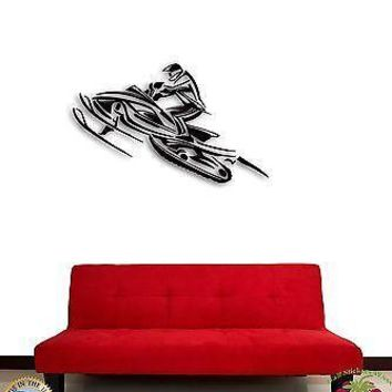 Wall Sticker Snowmobile Winter Extreme Sport Decor for Living Room Unique Gift z1378