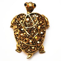 Gold Rhinestone Turtle Brooch - Hollycraft Signed designer - Animal figurine pin