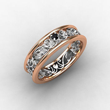 Filigree ring, Black diamond, two tone, rose gold ring, white gold, wedding band, lace ring, diamond wedding, filigree