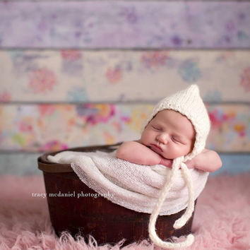 White knit bonnet newborn photo prop hand knitted baby hat ne