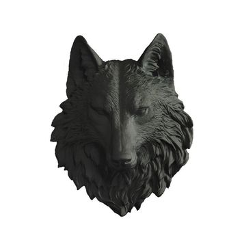 The Sierra | Large Wolf Head | Faux Taxidermy | Black Resin