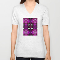 Purple Pattern Overload  Unisex V-Neck by Louisa Catharine Design