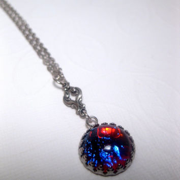 Wee Dime Size Dragons Breath Opal Necklace