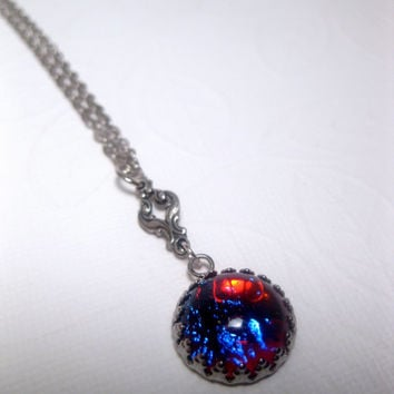 Mini Dime Size Mexican Opal Pendant Necklace - Dragons Breath