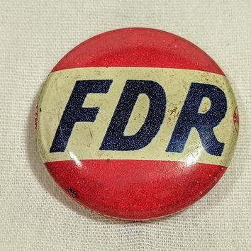 FDR Metal Campaign Pin Presidential Election Memorabilia Franklin Delano Roosevelt Democratic President Candidate LJ Imber Co Chicago Union